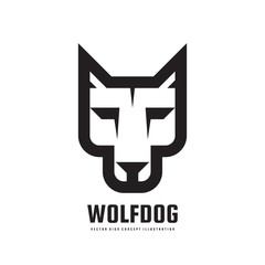 Wolf or dog head - vector logo template concept illustration. Wilde animal graphic sign. Design element.