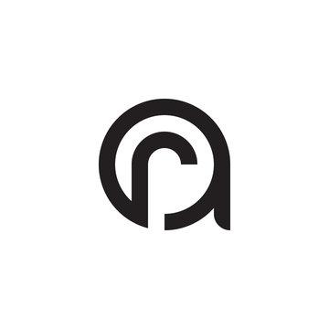 initial letter ar, ra, r inside a, linked line circle shape logo, monogram black color