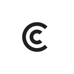 Initial letter cc, cc, c inside c, linked line circle shape logo, monogram black color