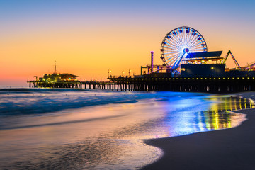 santa monica pier at sundown, los angeles