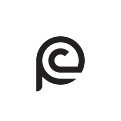 Initial letter pc, cp, c inside p, linked line circle shape logo, monogram black color