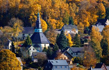 Seiffen Church Saxony Germany in autumn