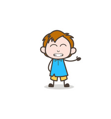 Grimacing Facial Expression - Cute Cartoon Kid Vector