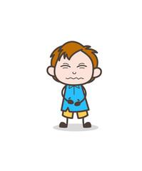 Confounded Face - Cute Cartoon Kid Vector