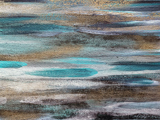 Artistic abstract colorful texture on canvas. Gold stripes, blue stains, black and white washes.