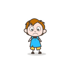 Fearful Facial Expression - Cute Cartoon Kid Vector