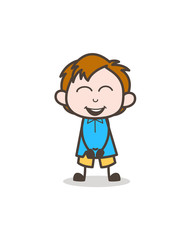 Small Boy Laughing Face - Cute Cartoon Kid Vector