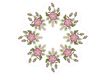 Wavy oval frame of beads with embroidered wreath of pink roses,buds with branches and leaves on white background
