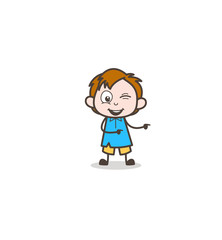Naughty Boy Winking Eye and Pointing Finger - Cute Cartoon Kid Vector