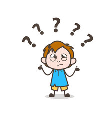 Confused Little Boy Expression - Cute Cartoon Kid Vector