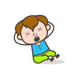 Dizzy Face with Screaming Expression - Cute Cartoon Boy Illustration