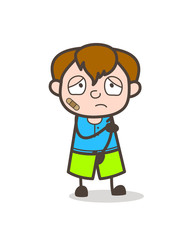 Injured Boy with Bandage on Face - Cute Cartoon Boy Illustration