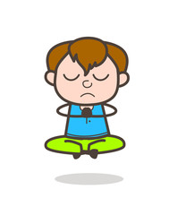 Little Kid Doing Prayer and Yoga - Cute Cartoon Boy Illustration