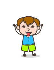Teasing Tongue Face Expression - Cute Cartoon Boy Illustration