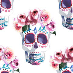 Beautiful lovely graphic artistic abstract bright cute halloween stylish floral skull with roses wreath watercolor hand sketch. Perfect for textile, wallpapers, wrapping paper, cards, invitations