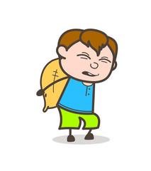 Child Labor Concept - Cute Cartoon Boy Illustration