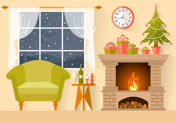 Vector New Year s interior in flat style. A room with a fireplace, a Christmas tree, gifts, decorated for Christmas.