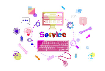 Services Word With Pc Computer Icons On White Background Customer Help Satisfaction Concept Vector Illustration