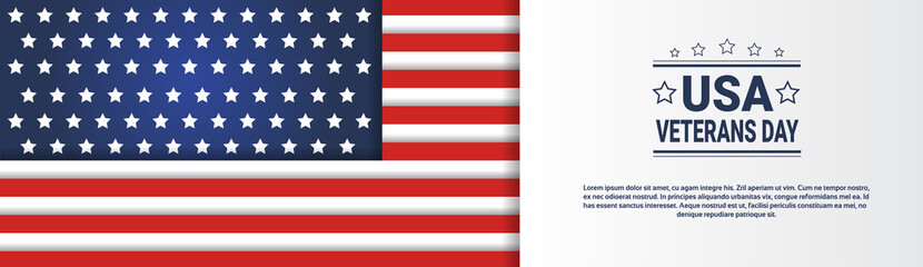 Usa Veterans Day Horizontal Banner With United States Flag On Background And Copy Space Vector Illustration