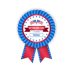 Veteran Day Medal Isolated On White Background Holiday Badge In Usa Flag Colors Vector Illustration
