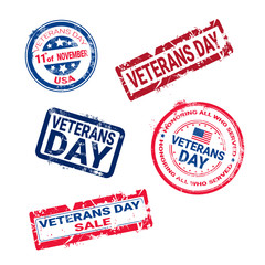 Set Of Grunge Rubber Stamps With Veteran Day Badge On White Background, Usa Holiday Retro Labels Collection Vector Illustration