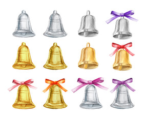 Vector Set of gold and silver Christmas bells with bows on isolated background. watercolor illustration