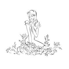 silhouette 23. beautiful girl sitting among the flowers