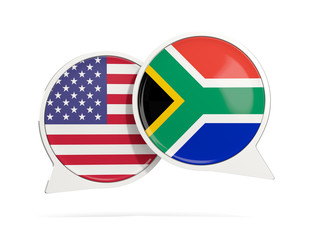 Chat bubbles of USA and South Africa isolated on white