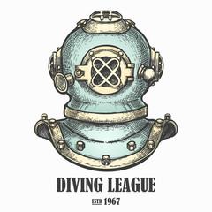 Diving helmet drawn in vintage style