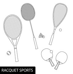 Set of racquet sports in outline design - equipment for tennis, table tennis, badminton and squash - rackets and balls