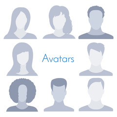 Avatar profile icon collection isolated on white background. Male and female set. Anonymous faceless user. Default person picture. Business vector illustration for your design.
