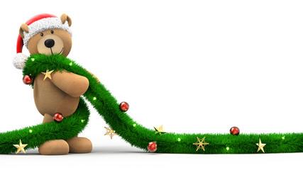 Teddybär mit Weihnachtsmütze und Girlande isoliert weißer Hintergrund