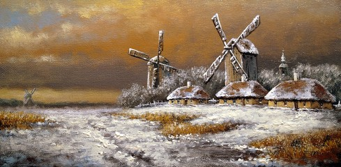 Winter village, landscape paintings, oil, canvas, art
