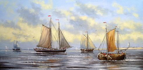 Sea landscape paintings, fisherman, oil, canvas, art