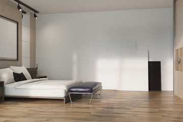 Beige loft bedroom, poster on floor