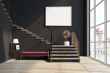 Black living room, stairs, red bench, poster