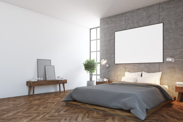 Concrete bedroom interior, poster, side