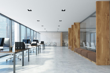 White and wooden open space office