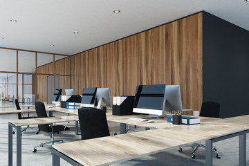 Wood and glass office interior