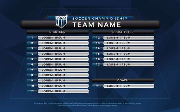 Broadcast graphic for football starting and substitutes, reserves separate text layer, football substitutes broadcast graphic for soccer starting lineup squad blue color