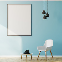 Blue living room interior, armchair and poster