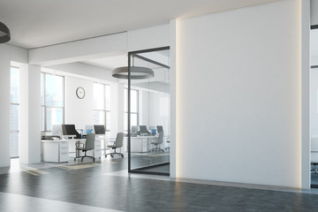 White open space, blank wall side