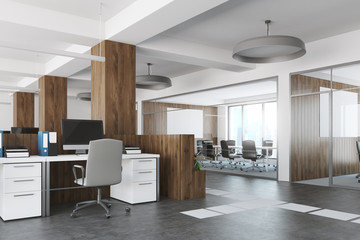 White and wooden open space office side view