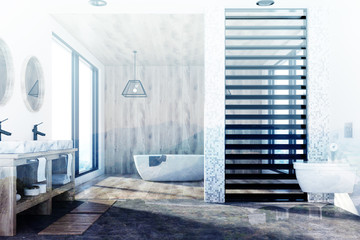 Wooden bathroom, tub, sink and shower toned