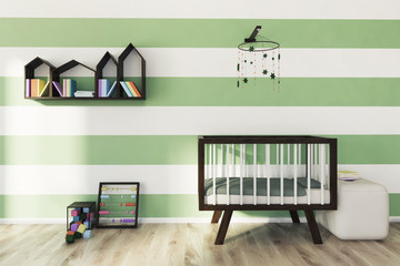 Green and white nursery, crib