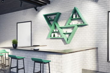 White bar interior, stand, postersm side