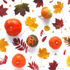 Composition of a pumpkin and autumn leaves on a white background, flat layout, top view. Food background pattern. Autumn concept. Wallpaper of vegetables.