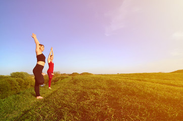 Two young fair-haired girls in sports suits practice yoga on a picturesque green hill in the open air in the evening. The concept of sport  exercising and healthy lifestyles