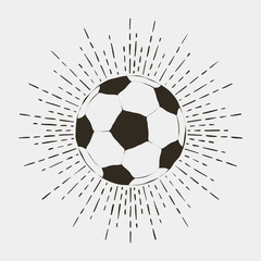 Soccer or football ball print. Vintage typography with sunburst for t-shirt, apparel, poster, logo. Vector illustration.