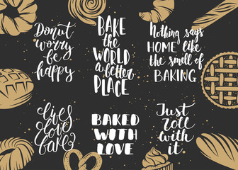 Set of bakery vector lettering with engraved elements for greeting cards, decoration, prints and posters. Hand drawn typography design elements. Handwritten lettering. Modern ink brush calligraphy.
